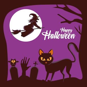 Glückliche halloween-karte mit der hexe, die im besen und in der katze im friedhof fliegt