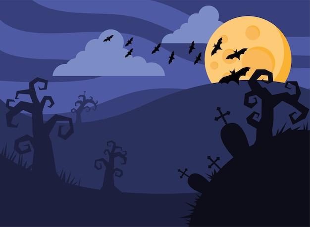 Glückliche halloween-karte mit fledermäusen fliegen und vollmond vektor-illustration design