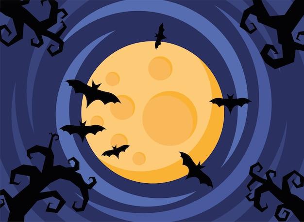 Glückliche halloween-karte mit fliegenden fledermäusen und vollmond-szenenvektorillustrationsdesign