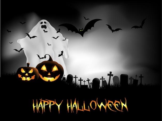 Glückliche halloween-karte mit geist und fledermäusen im friedhof