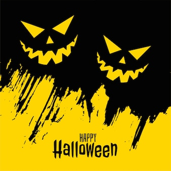 Glückliche halloween-karte mit gruseligem gruseligem gesicht