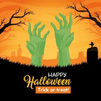 Glückliche halloween-karte mit händen des zombies im friedhof