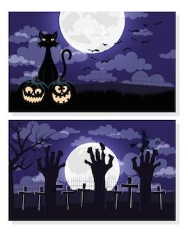 Glückliche halloween-karte mit händen tod und katzenszenen vektor-illustration design