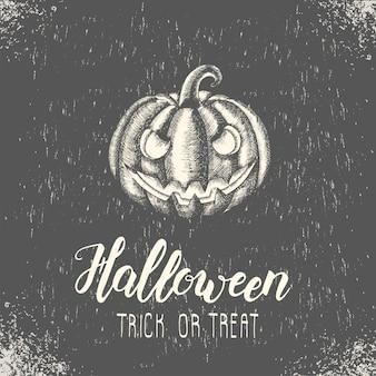 Glückliche halloween-karte mit hand gezeichnetem halloween-kürbis handgemachtem modischem