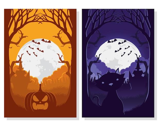 Glückliche halloween-karte mit katzen- und kürbisszenenvektorillustrationsentwurf
