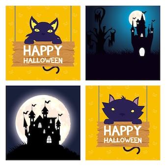 Glückliche halloween-karte mit katzen und verwunschenen burgenszenenvektorillustrationsentwurf