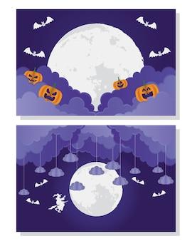 Glückliche halloween-karte mit kürbis und hexe im monderszenenvektorillustrationsentwurf