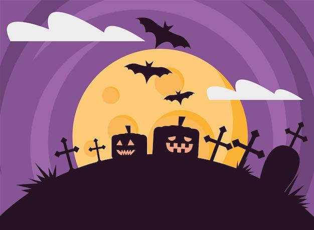 Glückliche halloween-karte mit kürbissen am nachtszenenvektorillustrationsentwurf