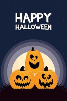 Glückliche halloween-karte mit kürbissen und beschriftung bei nachtvektorillustrationsentwurf
