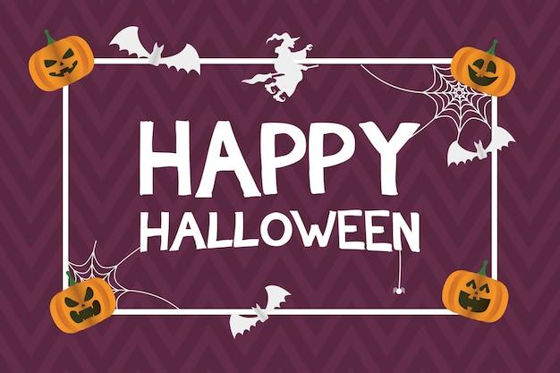 Glückliche halloween-karte mit kürbissen und fledermäusen, die quadratischen rahmenvektorillustrationsentwurf fliegen