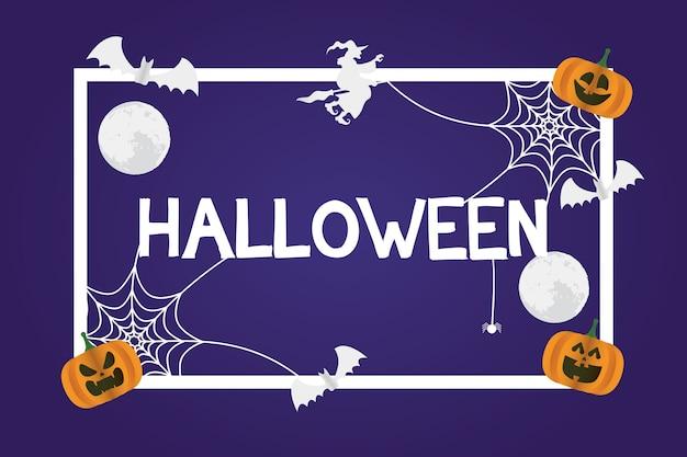 Glückliche halloween-karte mit kürbissen und fliegendem quadratischem rahmenvektorillustrationsentwurf der hexe