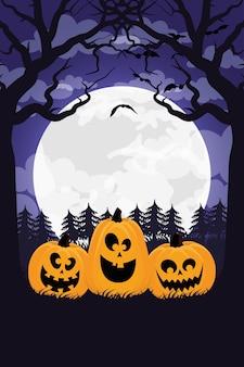 Glückliche halloween-karte mit kürbissen und mond-szenenvektorillustrationsentwurf