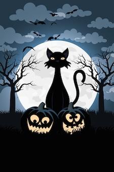 Glückliche halloween-karte mit kürbissen und schwarzer katzenszene-vektorillustrationsentwurf