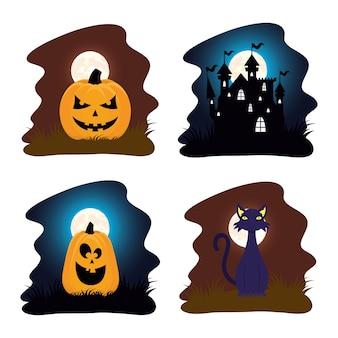 Glückliche halloween-karte mit kürbissen und spukhausszenen-vektorillustrationsdesign