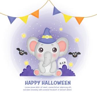 Glückliche halloween-karte mit niedlichem elefanten im aquarellstil.