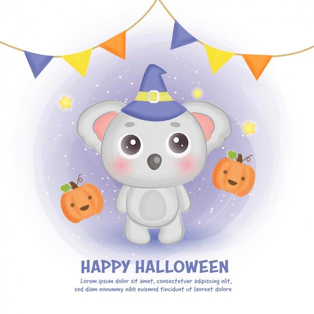 Glückliche halloween-karte mit niedlichem koala im aquarellstil.