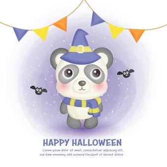 Glückliche halloween-karte mit niedlichem panda