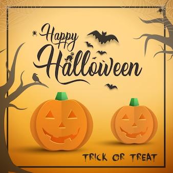 Glückliche halloween-karte mit orange kürbisen