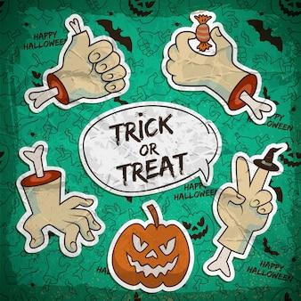 Glückliche halloween-karte mit papierzombie-armgesten-kürbis