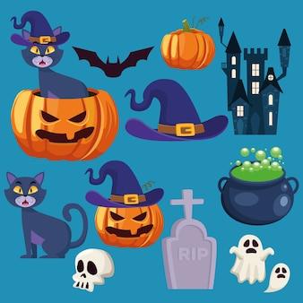 Glückliche halloween-karte mit satzikonenbündel