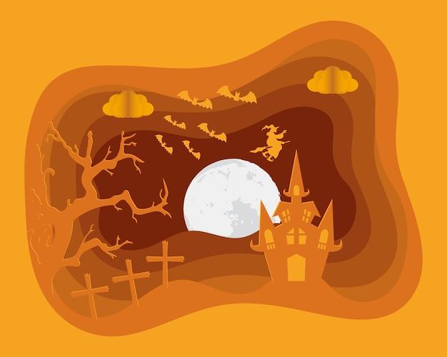 Glückliche halloween-karte mit schloss im friedhofsszenenvektorillustrationsentwurf