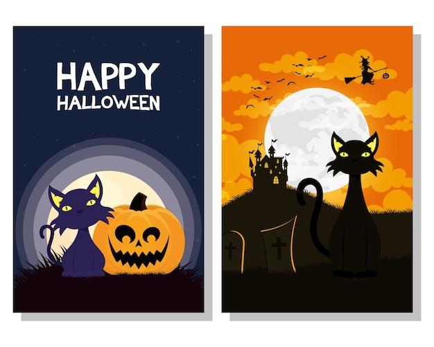 Glückliche halloween-karte mit schwarzen katzenmaskottchen und hexenfliegenszenenvektorillustrationsdesign