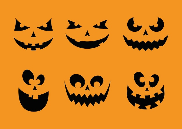 Glückliche halloween-karte mit sechs gesichtern kürbisvektorillustrationsdesign