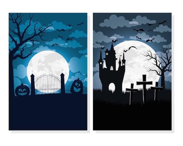 Glückliche halloween-karte mit spukhaus- und friedhofsvektorillustrationsentwurf