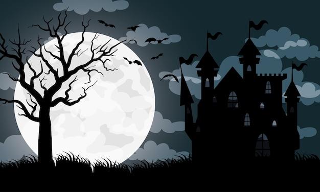 Glückliche halloween-karte mit spukhausvektorillustrationsentwurf