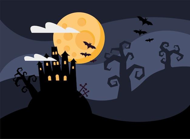 Glückliche halloween-karte mit spukschloss bei nacht vektor-illustration design