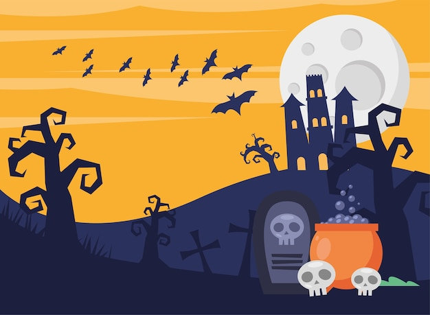 Glückliche halloween-karte mit spukschloss und kessel im friedhofsvektorillustrationsentwurf