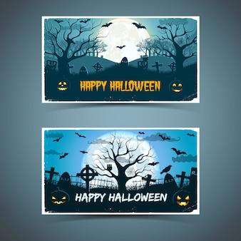 Glückliche halloween-karten mit dem alten baumfriedhof der weißen rahmentiere auf dem riesigen mond