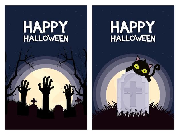 Glückliche halloween-kartenbeschriftungen mit vektorillustrationsentwurf der katzen- und handtodeszenen