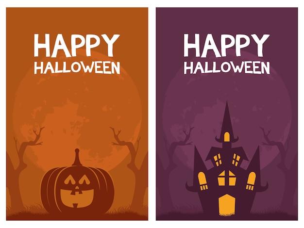 Glückliche halloween-kartenbeschriftungen und kürbis mit schlossvektorillustrationsentwurf