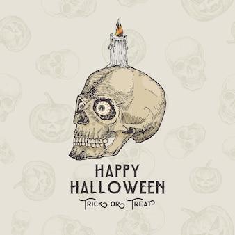Glückliche halloween-kartenschablone mit schädel mit augen und kerze