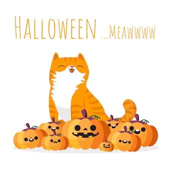 Glückliche halloween-katze, die auf stapel von kürbisen sitzt.