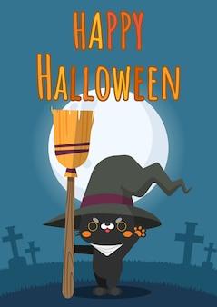 Glückliche halloween-katze, die besen hält und hexenhut trägt.