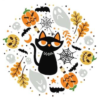 Glückliche halloween-katze. kritzeleien stil.