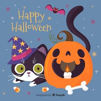 Glückliche halloween-katze und gebogener kürbis