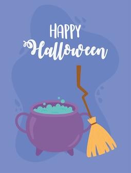 Glückliche halloween-kesselzauber- und besen-kartenillustration