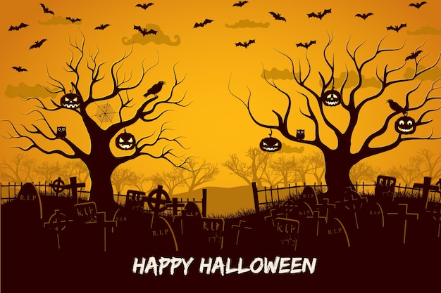 Glückliche halloween-komposition mit vögeln und laternen am baumfriedhof und fliegenden fledermäusen bei sonnenuntergang