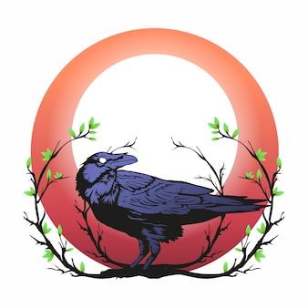 Glückliche halloween-krähe-vektor-illustration