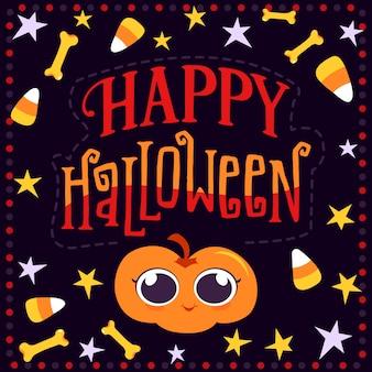 Glückliche halloween-kürbis- und knochengrußkarte
