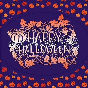 Glückliche halloween-musterkürbistypographie