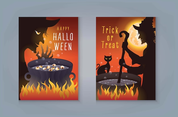 Glückliche halloween-nacht-party, halloween-hexe, die zaubertrank im kessel vorbereitet. alte hexe mit katze brauen einen zaubertrank und vollmond für einladungskarte.
