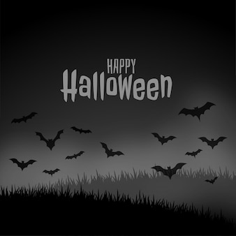 Glückliche halloween-nachtfurchtsame szene mit fliegenschlägern