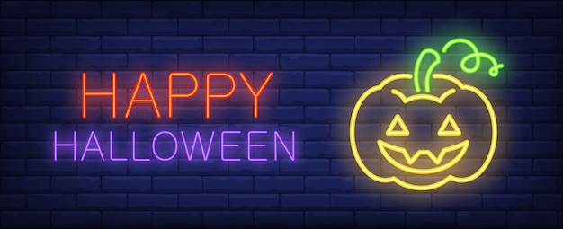 Glückliche halloween-neonartfahne mit laterne jacks o auf backsteinmauer. helles neonwandzeichen