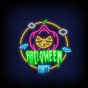 Glückliche halloween-neonkarte