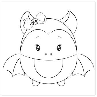 Glückliche halloween niedliche weibliche fledermaus zeichnungsskizze zum ausmalen