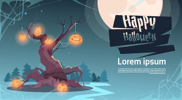 Glückliche halloween-partei-fahnen-kürbise, die an der baum-traditionellen dekorations-gruß-karte hängen